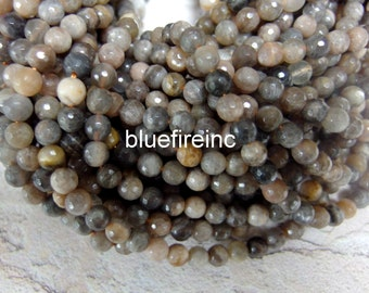 65pcs 6mm round Faceted Natural color Black peach color Black Moon stone beads in full strand
