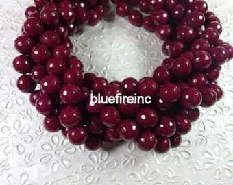 32 pcs 12mm round faceted Ruby red color agate beads