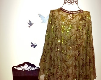 50% OFF 1 piece beautiful sequin dress or shirt,Vintage and italian fabric