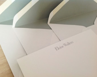 Pale Grey Personalized Note Cards and lined envelopes - Everyday stationery - Oyster Grey - Set of 10 - Stationery for men / women - Unisex