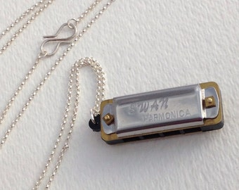 Mini Swan Harmonica, Solid Sterling Silver Chain, Long Pendant, Handmade