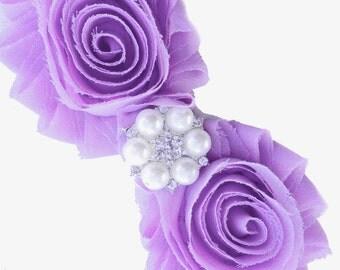 Lavender Shabby Chic Flower Headband With Rhinestones, Baby Headband, Newborn Headband Valenitnes Headband, Dress up headband