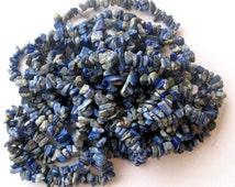 "Lapis Lazuli Rustic Chip Beads  Semi Precious Gemstone Beads Blue with Pyrite Bead Supplies Jewelry Making Craft Supplies 32"" Strand"