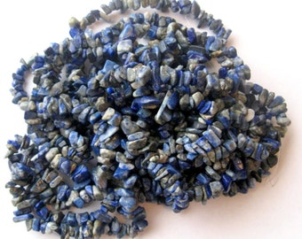 "Lapis Lazuli Rustic Chip Beads  Semi Precious Gemstone Beads Blue with Pyrite Bead Supplies Jewelry Making Craft Supplies 32"" Strand"