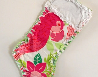 Lilly Pulitzer Port of Caw Christmas Stocking rag quilt edges