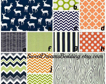 Custom Crib Bedding You Design   Bumper and Bedskirt Deer in Navy