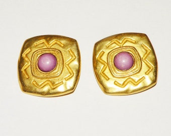 C Stein Pink stone Clip on Earrings