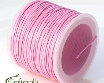 SALE 50% OFF: Pink waxed cotton cord - 1mm waxed cotton cord - 1 roll (25meters)