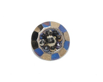 Tinted Cut Steels Antique Button Blue and Gold Tints