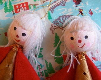 two woven basket ornaments
