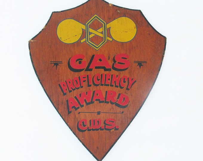"Featured listing image: Mid Century Hand Painted ""Gas Proficiency Award"" Sign - Plaque"