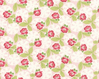 ON SALE Moda Ambleside Fabric Pink Floral Fabric Pink Quilting Fabric  - By The 1/2 Yard