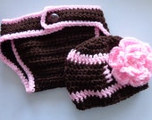 Diaper Cover/Football Beanie Set for 0-3 Month Baby Girl or Reborn Doll in Brown and Pink Trim