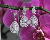 Bridal jewelry set - necklace and earrings, wedding, CZ jewelry, wedding jewelry set, bridal jewelry set, bridal necklace, bridal earrings