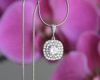 Wedding jewelry, bridal jewelry, Cubic zironia cz jewelry necklace, bridal necklace, wedding necklace, cz necklace, bridesmaid necklace