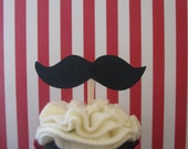 Mustache Cupcake Toppers, Mustache Bash, Little Man Party, Mustache Baby Shower - Set of 12 - MADE TO ORDER