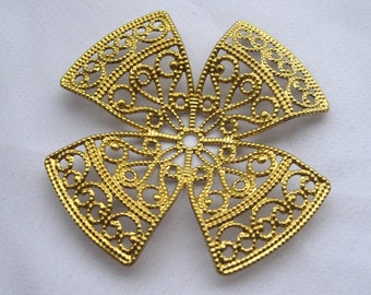 6pcs Heart Brass Filigree Findings 53mm Round DIY Crafts Supplies Ribbon bf175