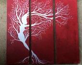 The White Dryad - Original Large Abstract Fantasy Fine Art Mythology Landscape Red Crimson Ruby 30x30 By Elizabeth Pfleeger