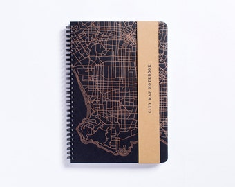 Street Collection | Los Angeles City Map Letterpress Notebook - Spiral Bound