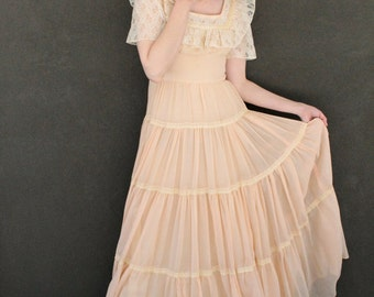 70's Peach Cotton Maxi Dress with Lace GRAND OLE OPRY