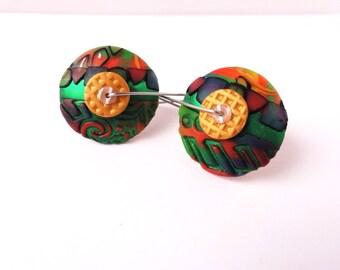 DE Green Goddess disk earrings by Marie Segal