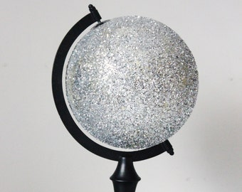 GLITTER SILVER GLOBE World Small Desk Globe With Rotating Stand Nursery Home Office Room Decor Glittered Sparkly Vintage Style Glam