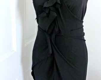 Black neoprene one shoulder drape dress