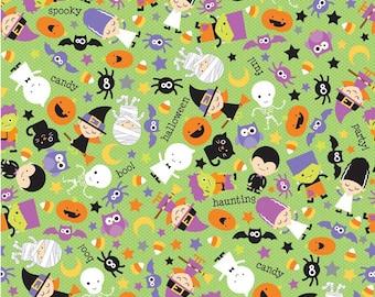 Riley Blake Designs Halloween Parade Green Main - 1 yard