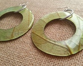 Mango Manga Leaves Coconut Big Statement Earrings Round Eco Friendly