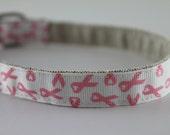 Hemp Dog Collar - Breast Cancer Awareness Pink Ribbon - 3/4in