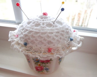 Vintage Royal Grafton Teacup Pin Cushion Tea Cup Pincushion Free Shipping