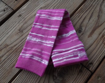 Pink and White Striped Leggings or Arm Warmers for Babies and Girls