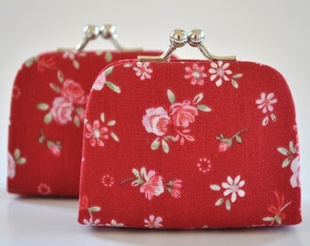 Garden Floral in Wine- Tiny Kiss lock Coin Purse/Jewelry holder