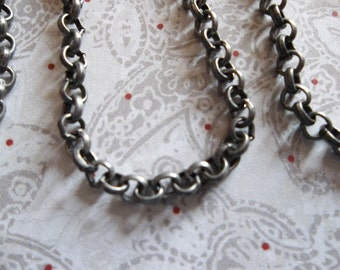 Small Round 3mm Link Antiqued Silver Rolo Chain - Qty 48 inches