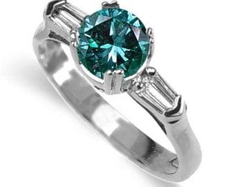 blue diamond ring  18k white gold