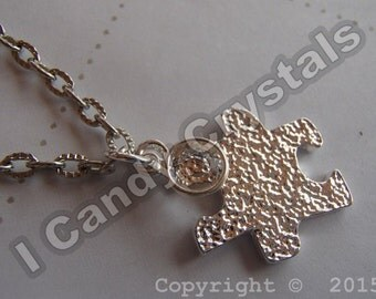 Silver Puzzle Piece and Crystal Necklace