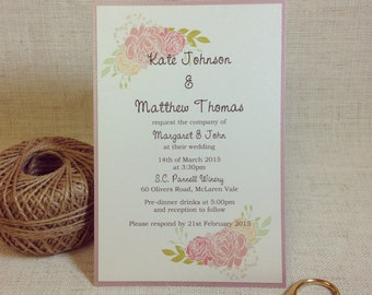 Pink Floral Invitations - Boho Wedding Invitations