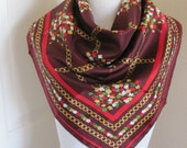 "Jacques Rousseau // Burgundy Ladies Acetate Scarf - 27"" Inch 64cm Square - Best of the Best"