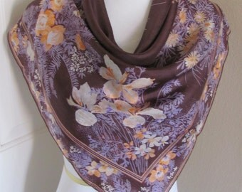 "Scarf OMG So Beautiful Brown Floral Ladies Silk Scarf  - 28"" Inch 66cm Square"