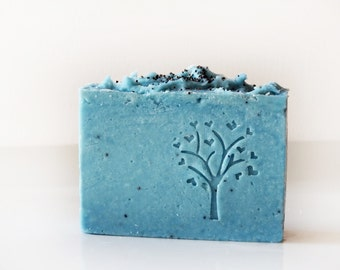 Jasmine Shea Butter Poppy Seed Soap - Cold process Exfoliating soap - based on Greek Olive Oil