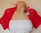 SALE Crochet BOLERO SHRUG / Wedding Accessories Jacket Cape Cardigan Gift Ideas / Women Elegant Capelet Vest Hand Knitted Romantic Brooch