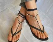 CROCHET BAREFOOT SANDALS / Summer Sandles Shoes Beads Victorian Anklet Crochet Women Wedding Sexy Accessories Cotton Elegant Feminine Beach