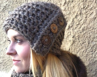 Chunky Hat, Hat, Coconut Buttons, Barley, Brown, Chunky, Statement Hat, Crochet