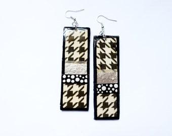 Long and Lean Handpainted Custom Shaped Modern Linear Block Inspired Earrings in Silver and Herringbone
