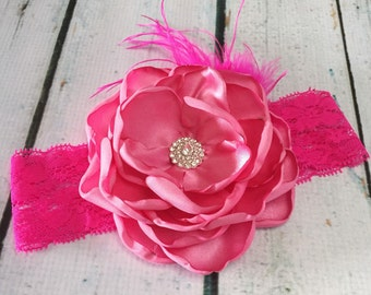 Hot Pink Couture Satin Headband - Valentine Day-Baby Girl Toddler Headband-Ostrich Feathers - Spring Headband