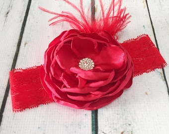 Red Couture Satin Headband - Valentine Day-Baby Girl Toddler Headband-Ostrich Feathers - Spring Headband