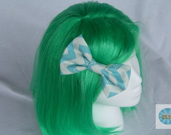 Big Blue and White Chevron Fabric Bow