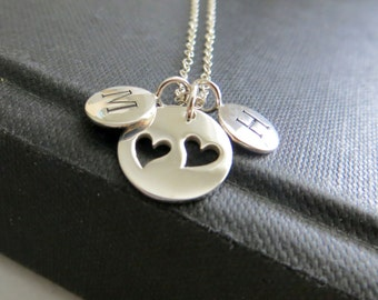 2 daughters initial necklace, personalized gift for mother of two,  mother daughter heart pendant, nymetals, new mom necklace