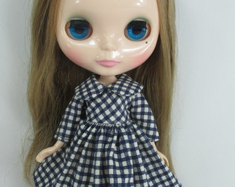 Handcrafted long sleeve scotch dress outfit for Blythe doll 957-9