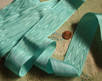 Vintage 1 yard rayon woven moire ribbon trim soft aqua millinery hat trim flapper cloche